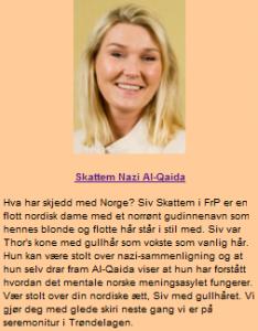 FrPs Siv Skattem omfavnes av Vigridtvedt.net