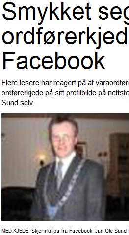 Enda en som klarte å legge ut bilde på Facebook. (Faksimile fra Trønderbladet.)